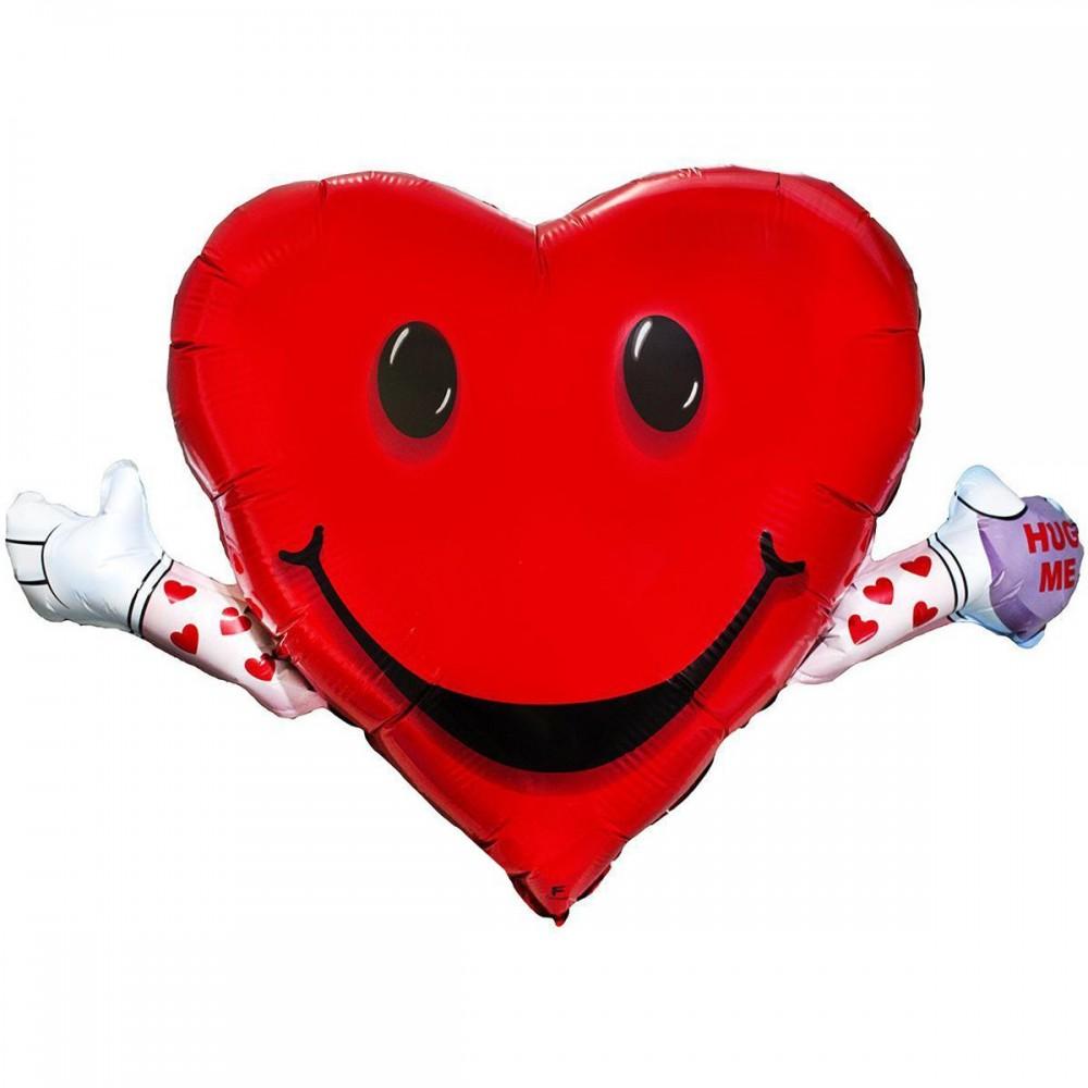 1207-1413 Шар фольгированный с гелием  Сердце смайл с руками, размер 63х100 см