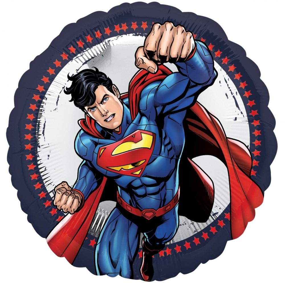 """3202-1010 Шар фольгированный с гелием  Круг Супермен 18"""", размер 46х46 см"""