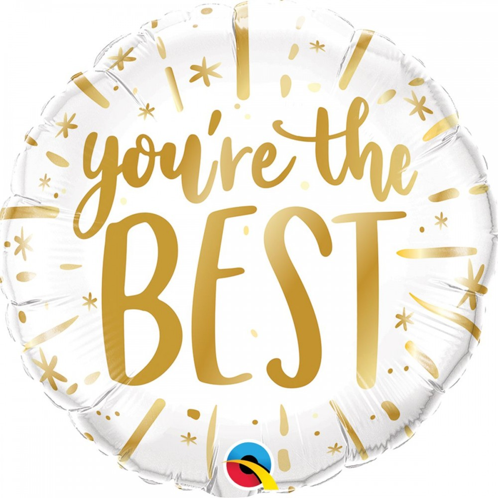 "3202-1090 Шар фольгированный с гелием  Круг ""You're the best"" 18, размер 46х46 см"