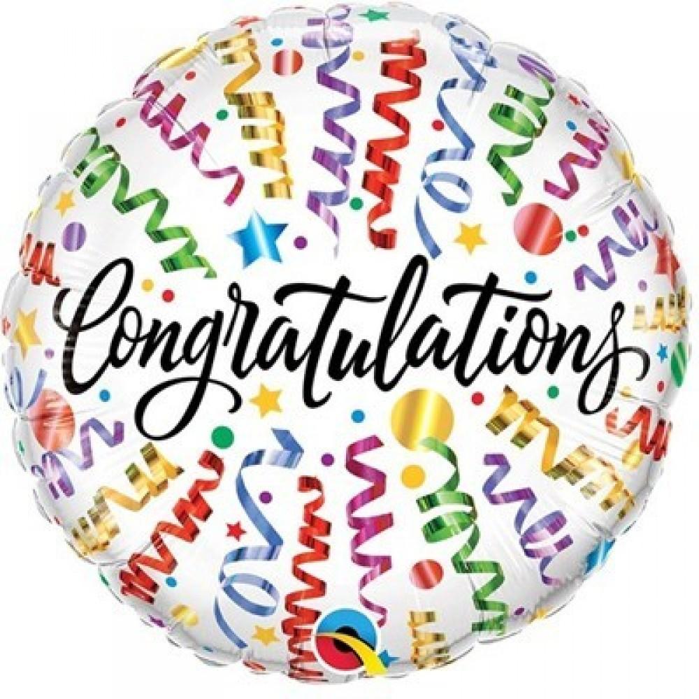 3202-0134 Шар фольгированный с гелием  Круг Congratulations 18, размер 46х46 см