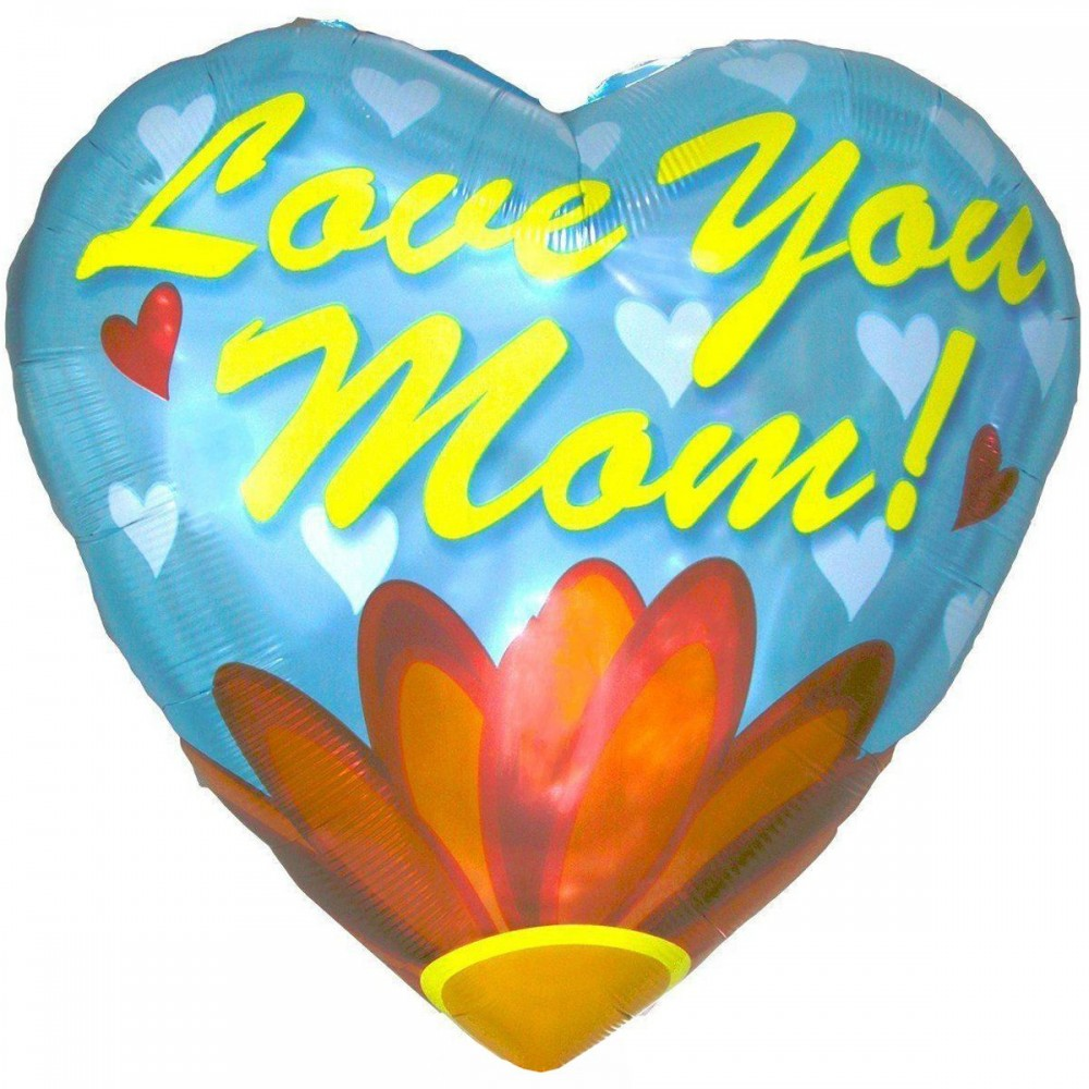 3202-0004 Шар фольгированный с гелием  Сердце Love you mom 28, размер 71х71 см
