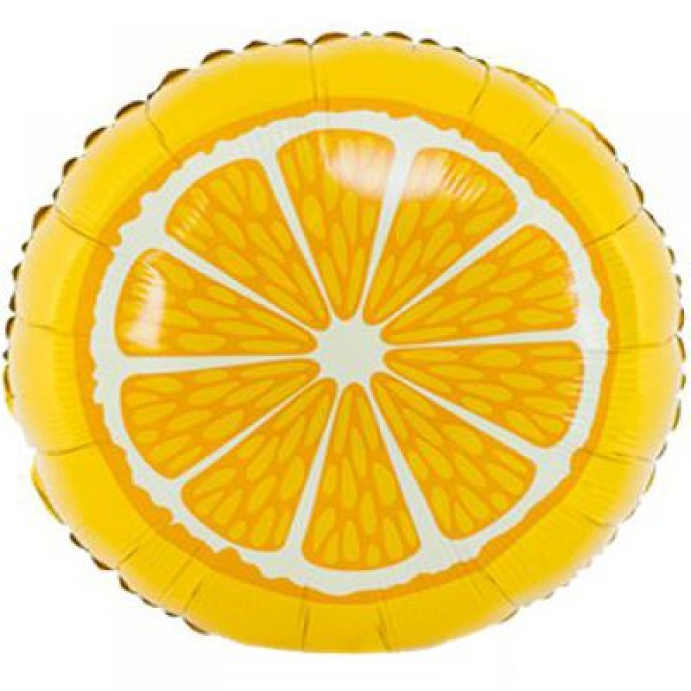 """1202-2345 Шар фольгированный с гелием  Круг Апельсин 18"""", размер 46х46 см"""