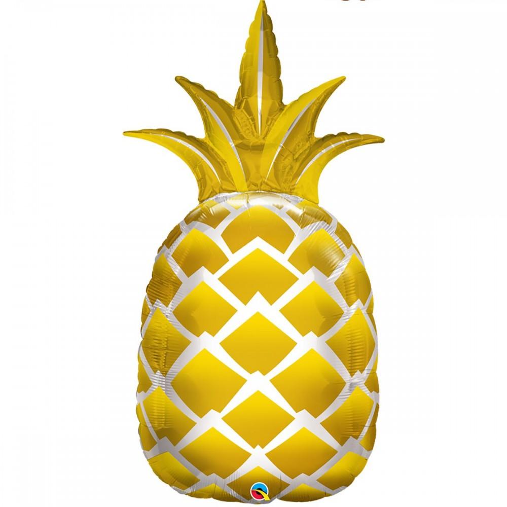 3207-1100 Шар фольгированный с гелием  Ананас золотой, размер 43х89 см