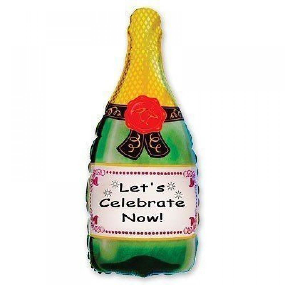 1207-0339 Шар фольгированный с гелием  Бутылка шампанского, размер 46х83 см