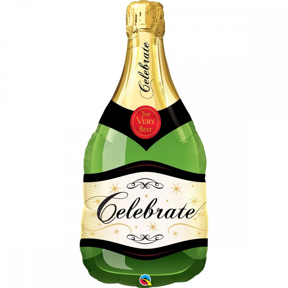 3207-1234 Шар фольгированный с гелием  Шампанское, размер 38х86 см