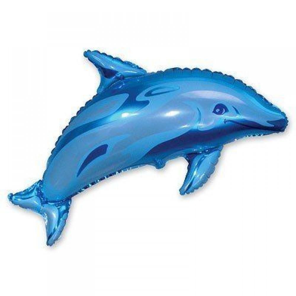 1207-0452 Шар фольгированный с гелием  Дельфин голубой, размер 95х65 см