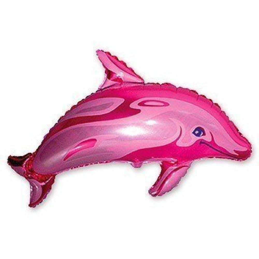 1207-0455 Шар фольгированный с гелием  Дельфин розовый, размер 95х65 см