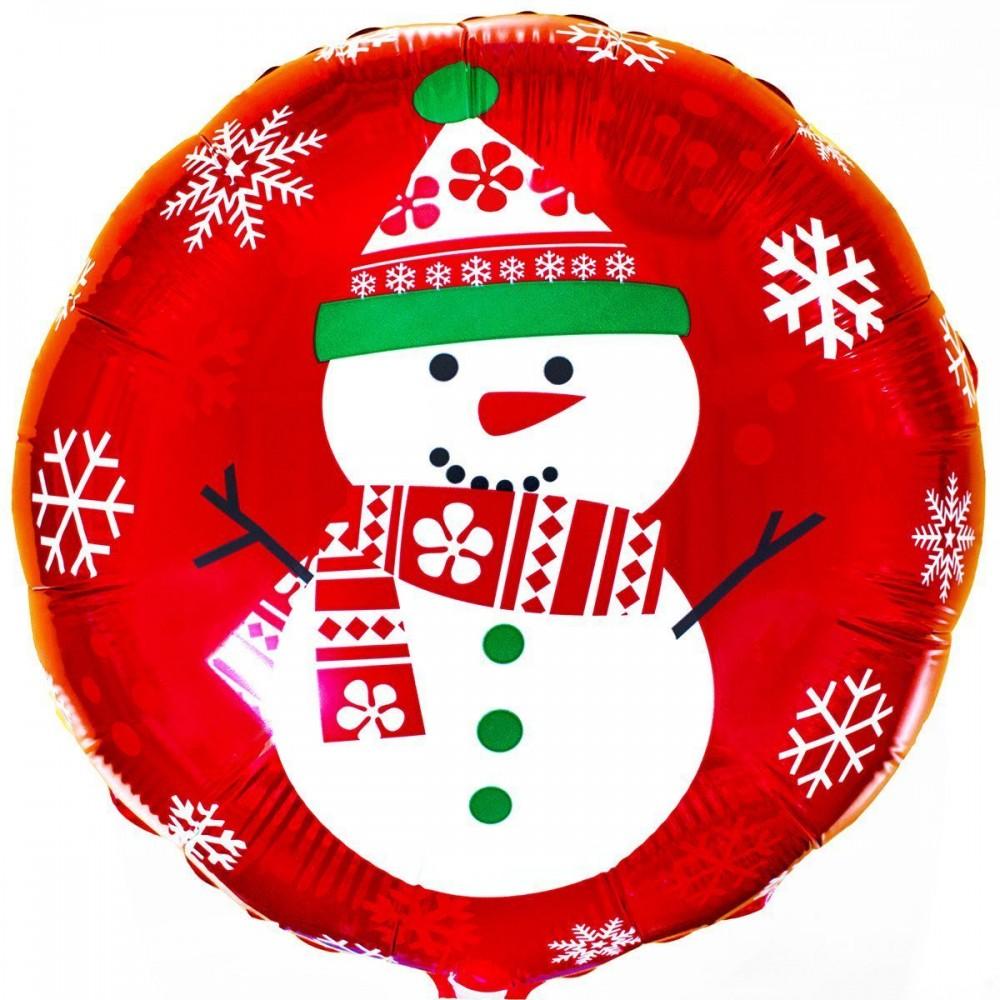 """1202-0908 Кулька фольгована з гелієм   Круг Сніговик 18"""", размер 46х46 см"""