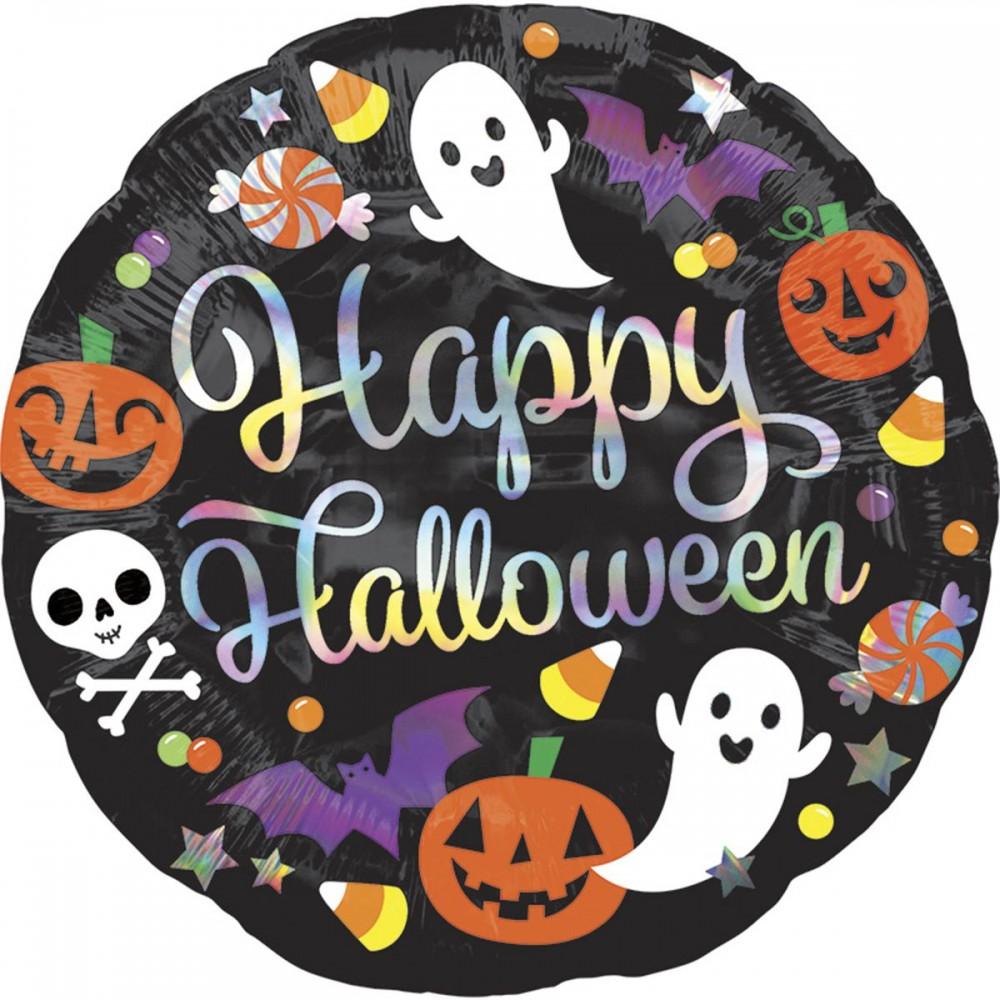 """3202-0472 Шар фольгированный с гелием  Круг Happy Halloween 18"""", размер 46х46 см"""