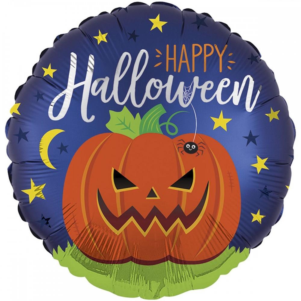 """3202-0445 Кулька фольгована з гелієм  Круг Halloween Містичний гарбуз 18"""", размер 46х46 см"""