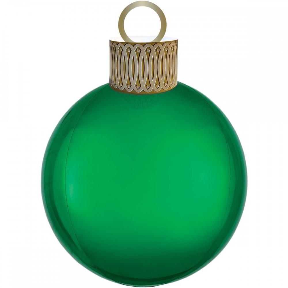 3209-0062 Шар фольгированный с гелием  Елочная игрушка зеленая, размер 38х50 см