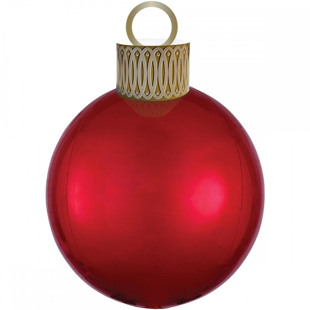 3209-0061 Шар фольгированный с гелием   Елочная игрушка красная, размер 38х50 см