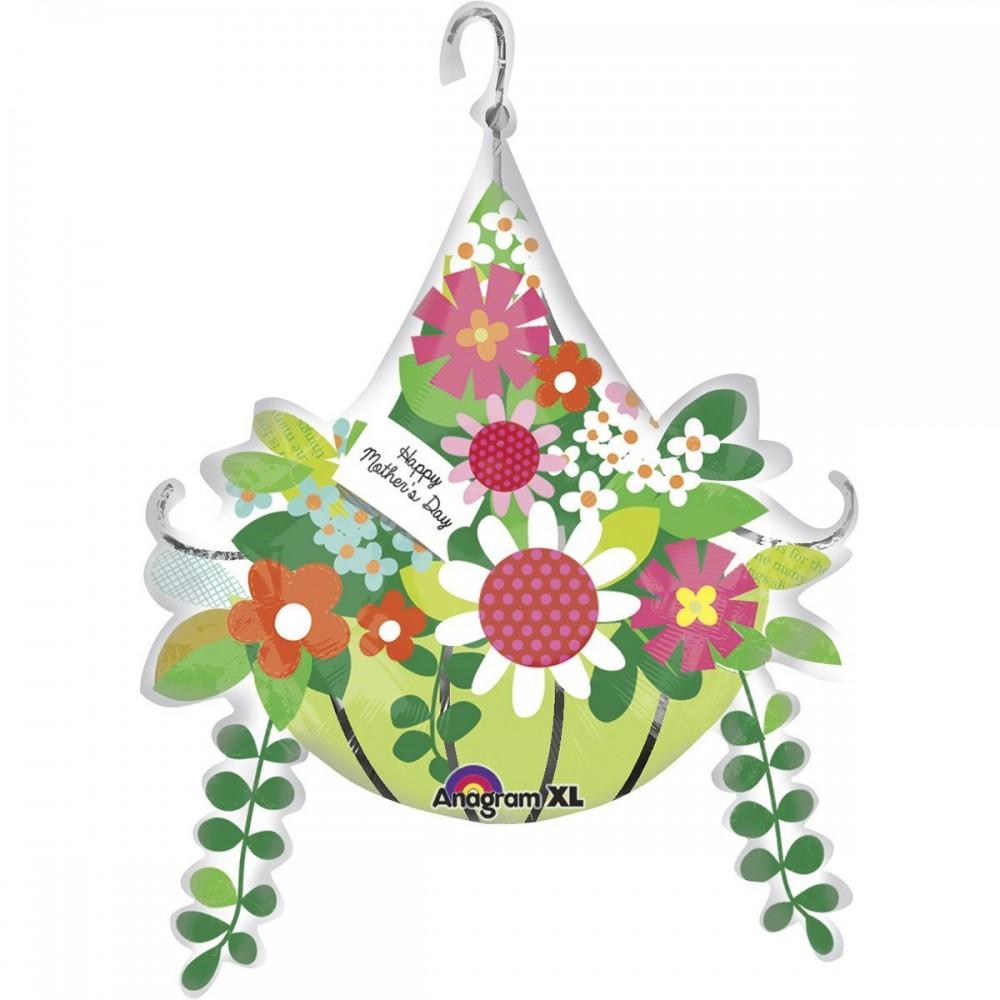 3207-0032 Шар фольгированный с гелием   Корзина цветов для мамы, размер 55х50 см
