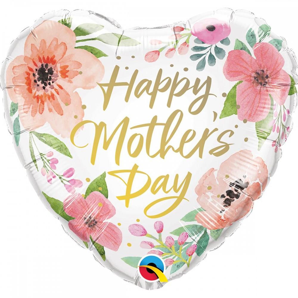 """3202-1030 Шар фольгированный с гелием  Сердце """"Happy Mother Day"""" цветы 18, размер 46х0 см"""