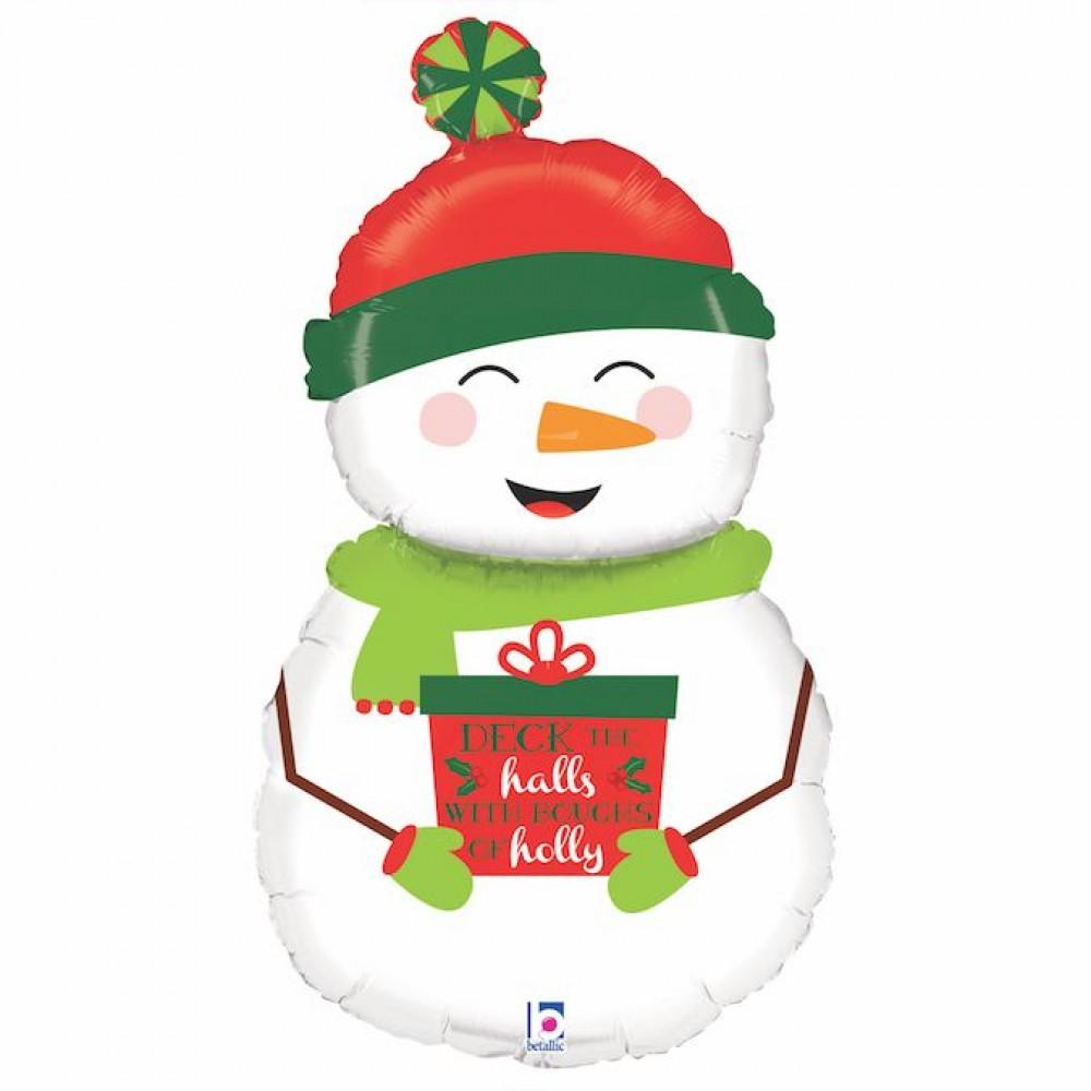 3207-1651  Кулька фольгована з гелієм  Сніговик в шапочці , размер 77х42 см