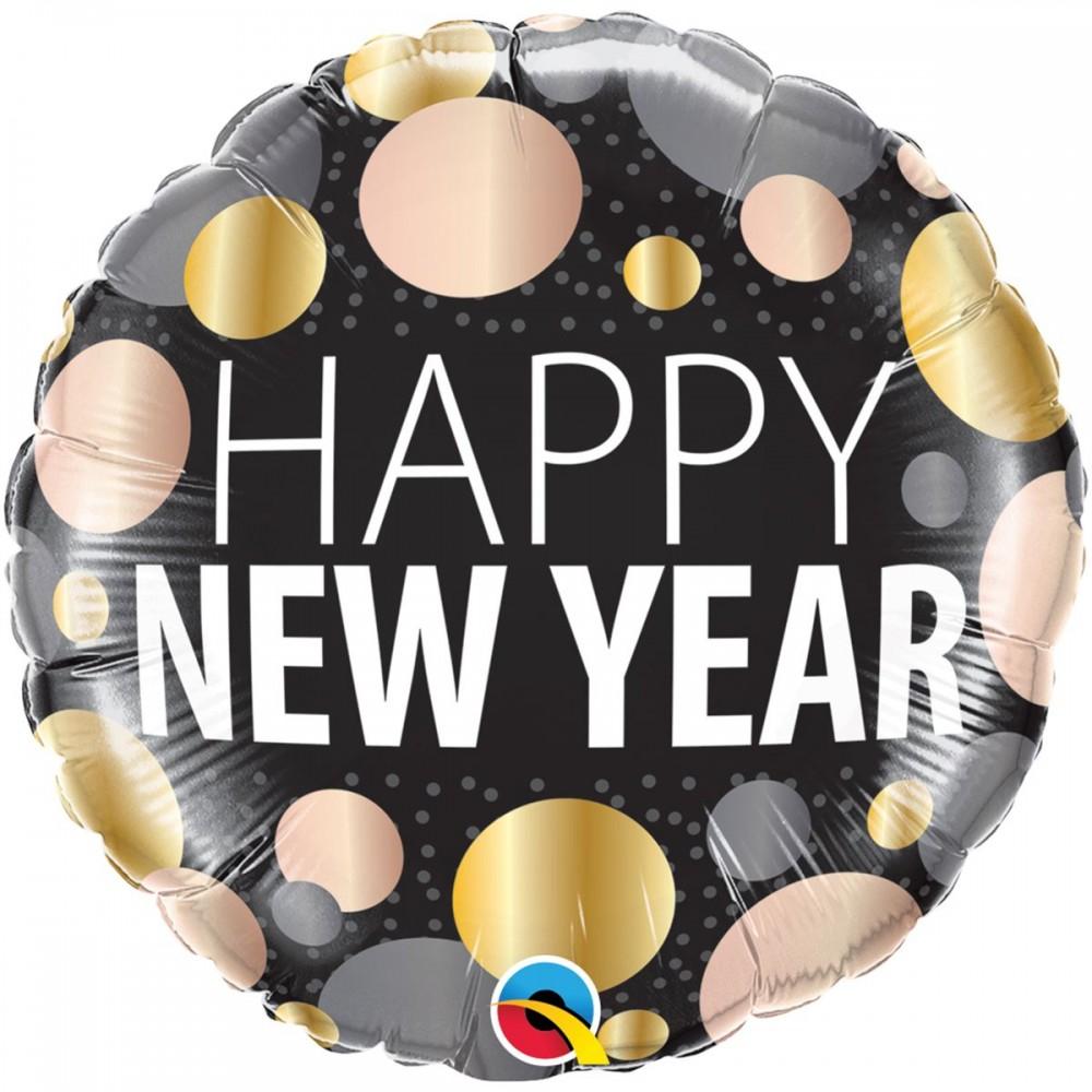 "3202-2668 Шар фольгированный с гелием  Круг ""Happy new year"" 18"", размер 46х46 см"