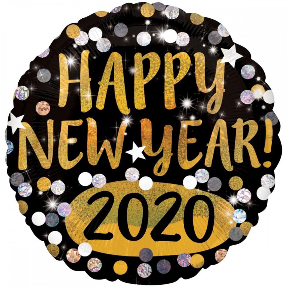 "3202-0648 Шар фольгированный с гелием  Круг ""Happy new year 2020"" 18"", размер 46х46 см"