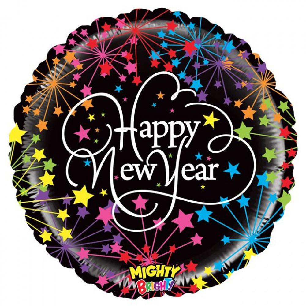 "3202-0913 Кулька фольгована з гелієм  Круг ""Happy new year"" 18"", размер 46х46 см"