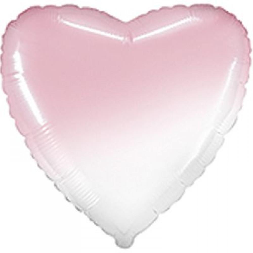 """3204-0471 Шар фольгированный с гелием  Сердце омбре бело-розовое 32"""", размер 79 см"""