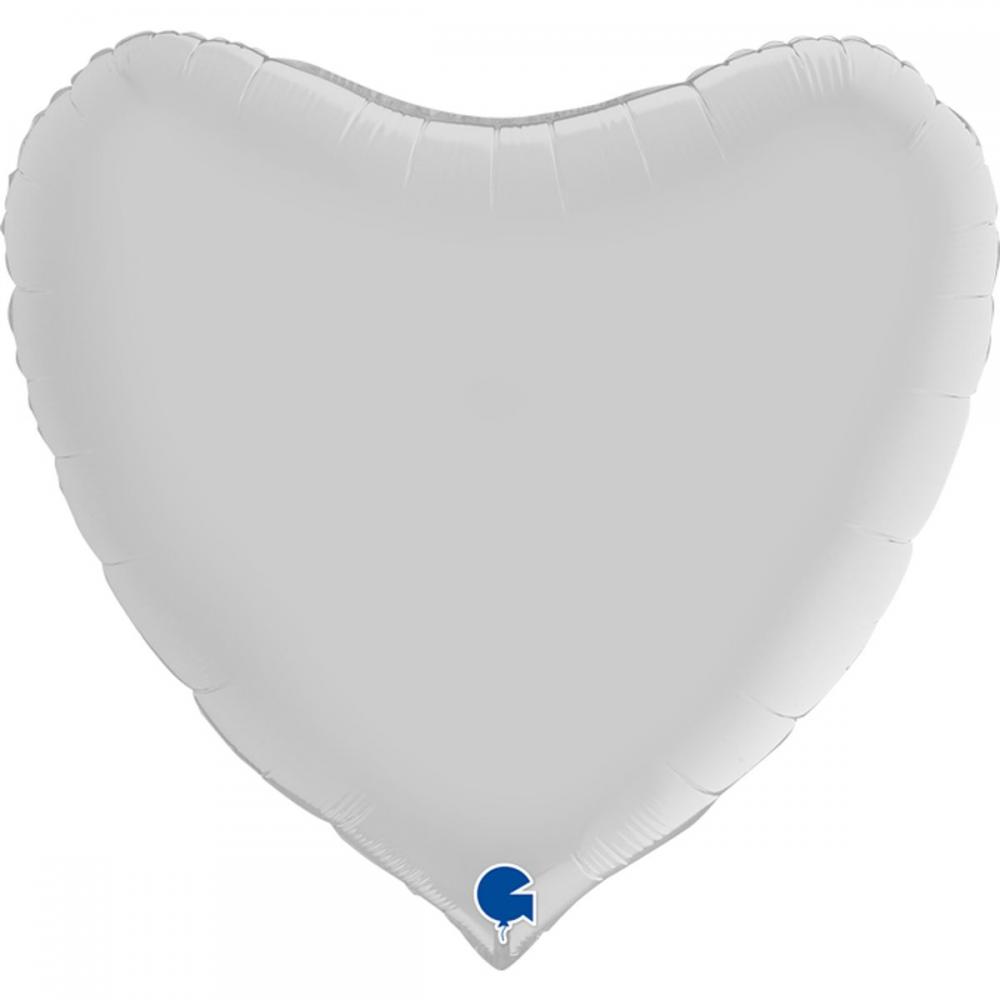 """3204-0481 Шар фольгированный с гелием  Сердце Сатин белое 36"""", размер 70 см"""