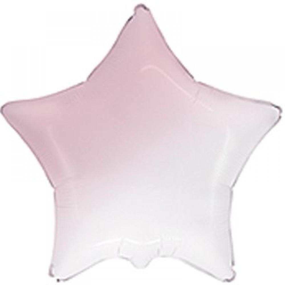 """3204-0461 Шар фольгированный с гелием  Звезда Омбре бело-розовая 32"""", размер 79 см"""