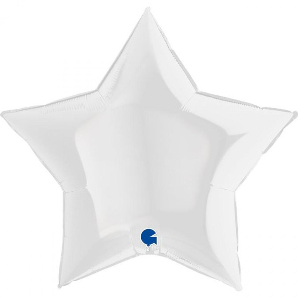 """3204-0474 Шар фольгированный с гелием  Звезда Сатин белая 36"""", размер 91 см"""