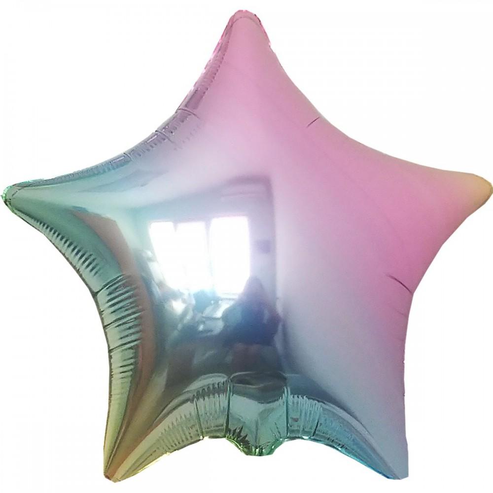 """3204-0444 Шар фольгированный с гелием  Звезда Металлик омбре 18"""", размер 45 см"""