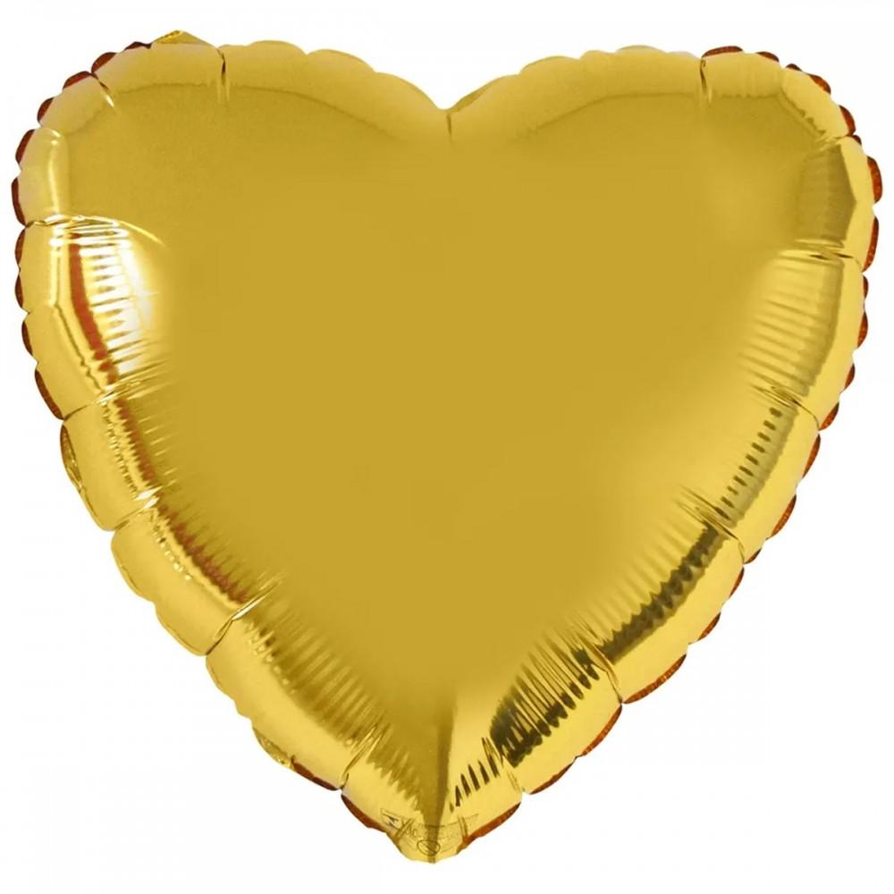 """1204-0124 Шар фольгированный с гелием  Сердце Золото 32"""", размер 79 см"""