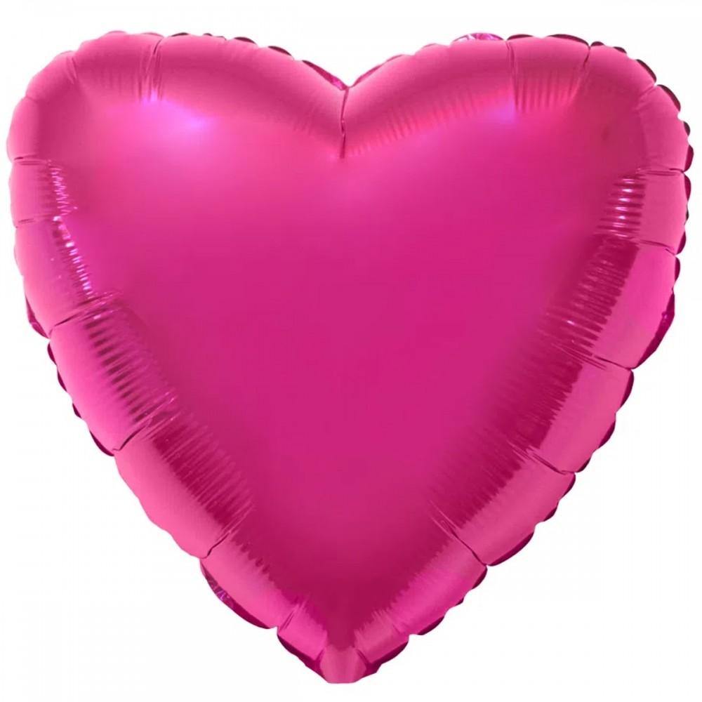 """1204-0126 Шар фольгированный с гелием  Сердце Металлик малиновое 32"""", размер 79 см"""