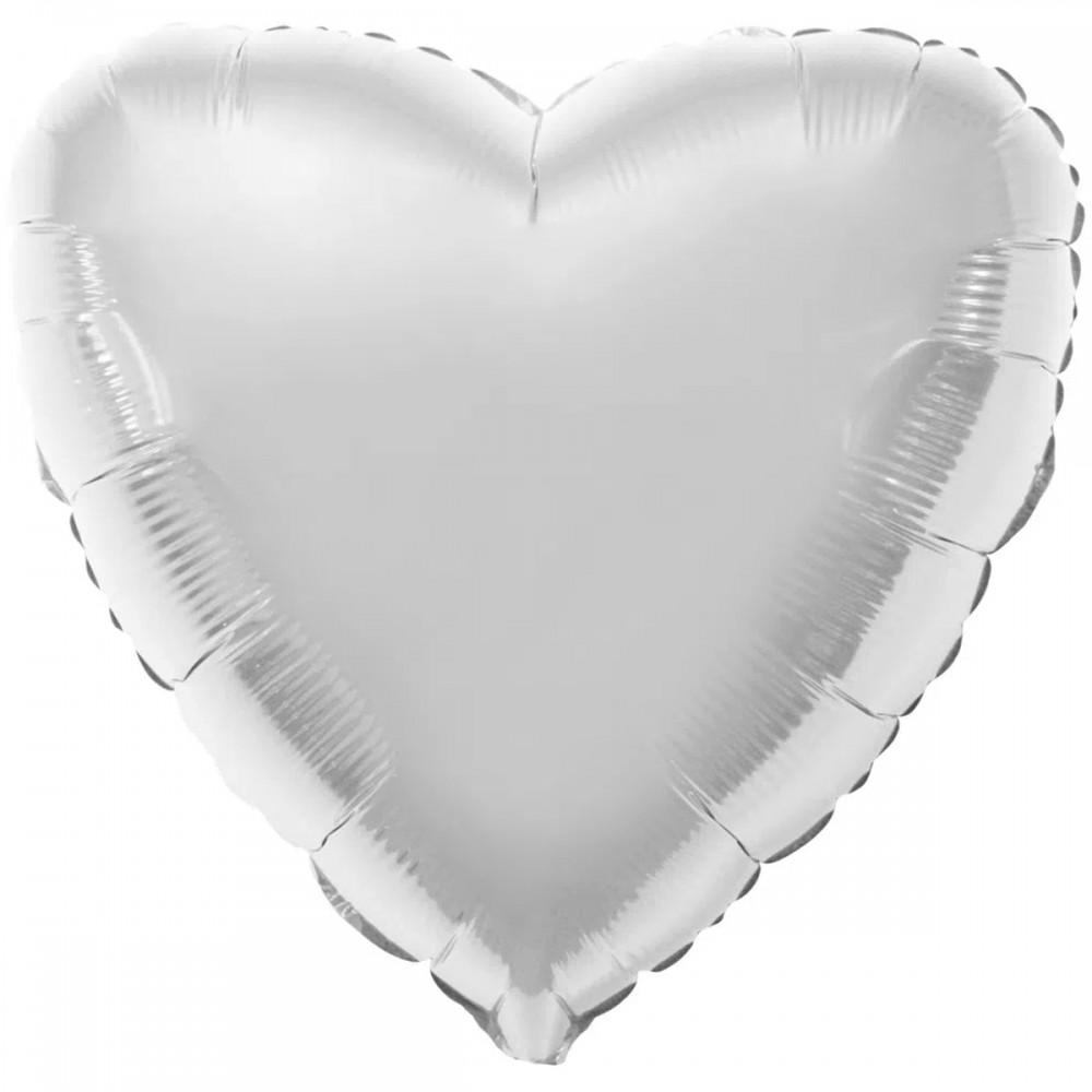 """1204-0128 Шар фольгированный с гелием  Сердце Серебро 32"""", размер 79 см"""