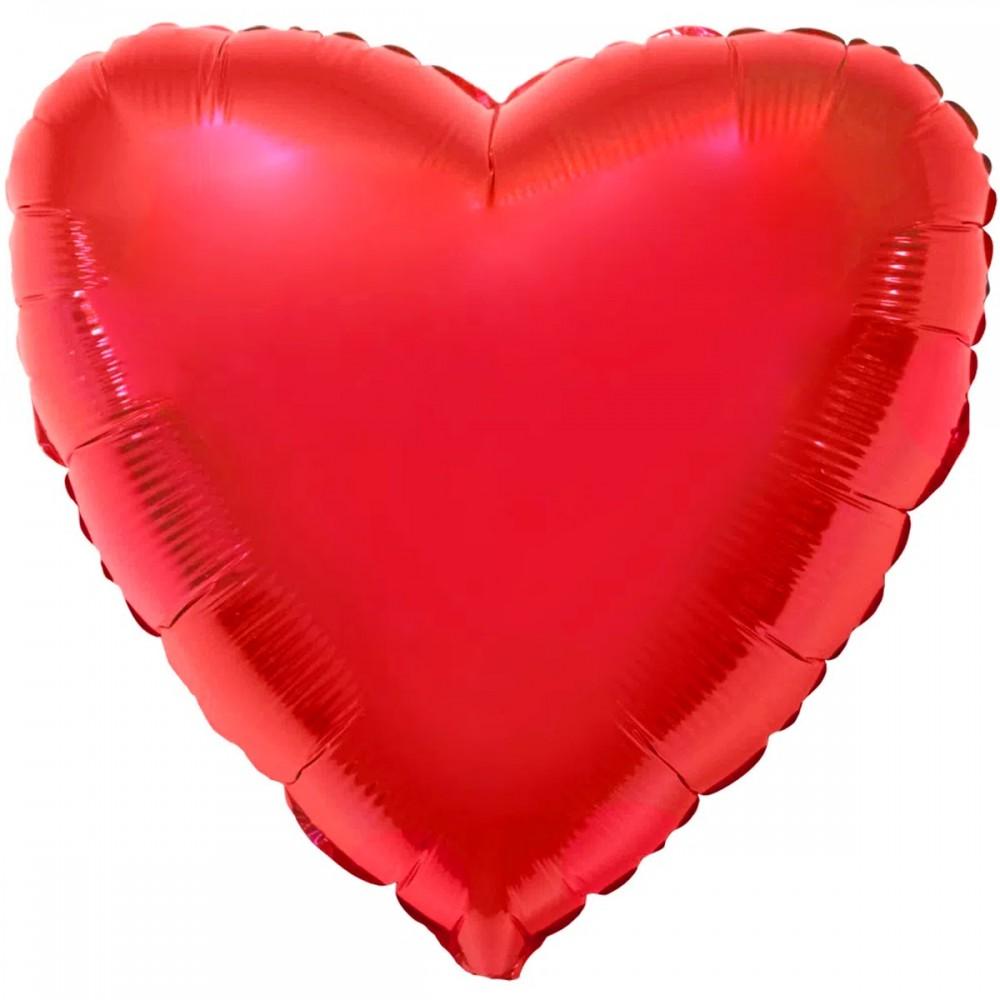 """1204-0127 Шар фольгированный с гелием  Сердце металлик красное 32"""", размер 79 см"""