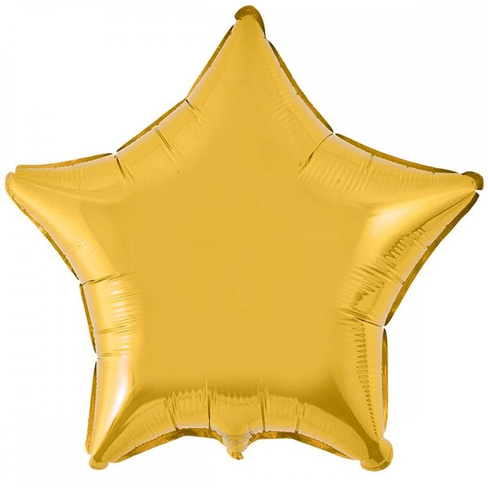 """1204-0105 Шар фольгированный с гелием  Звезда Золото 32"""", размер 79 см"""