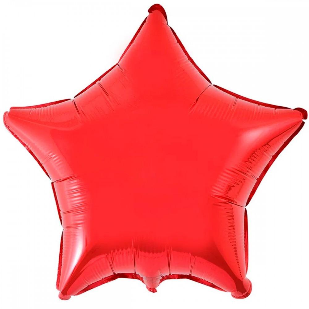 """1204-0108 Шар фольгированный с гелием  Звезда Металлик красная 32"""", размер 79 см"""