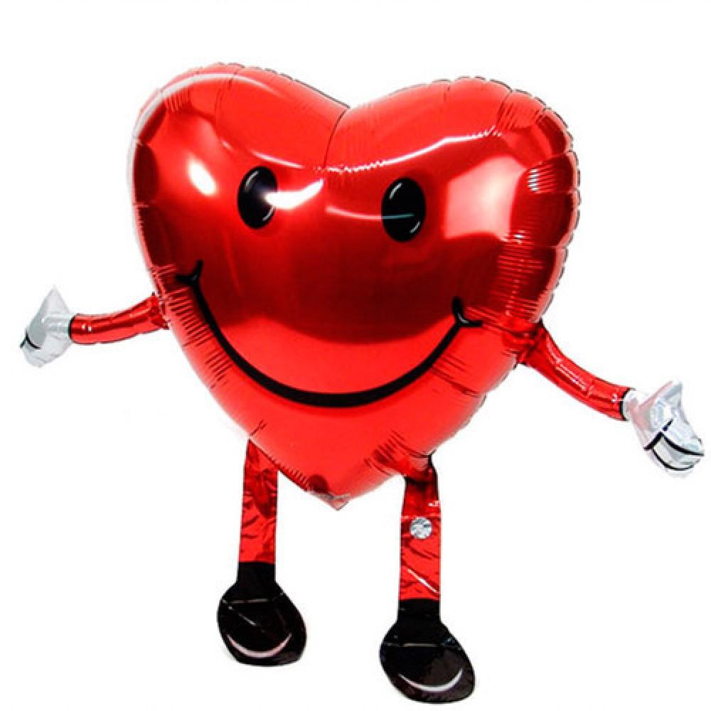 1208-0002 Ходячая фольгированная фигура с гелием  Сердце, размер 48х66 см